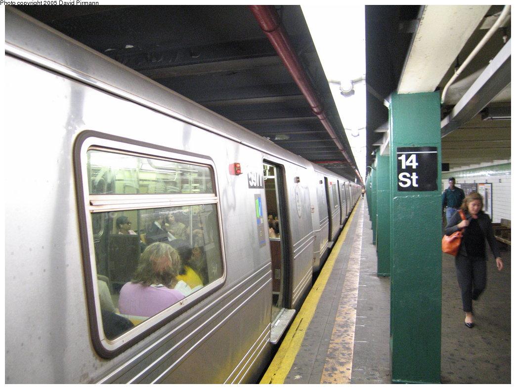(179k, 1044x788)<br><b>Country:</b> United States<br><b>City:</b> New York<br><b>System:</b> New York City Transit<br><b>Line:</b> IND 6th Avenue Line<br><b>Location:</b> 14th Street <br><b>Route:</b> F<br><b>Car:</b> R-46 (Pullman-Standard, 1974-75) 5977 <br><b>Photo by:</b> David Pirmann<br><b>Date:</b> 6/30/2005<br><b>Notes:</b> Southbound platform<br><b>Viewed (this week/total):</b> 0 / 3690
