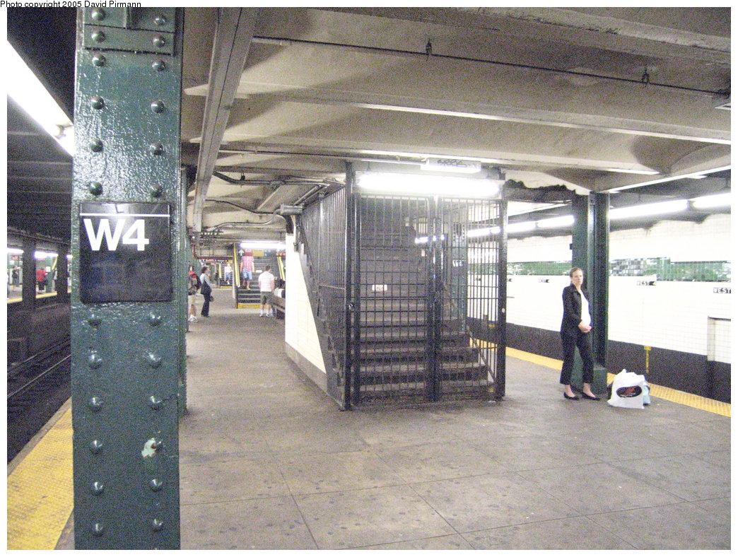 (265k, 1044x788)<br><b>Country:</b> United States<br><b>City:</b> New York<br><b>System:</b> New York City Transit<br><b>Line:</b> IND 6th Avenue Line<br><b>Location:</b> West 4th Street/Washington Square <br><b>Photo by:</b> David Pirmann<br><b>Date:</b> 6/30/2005<br><b>Notes:</b> Closed stairway at north end of southbound platform<br><b>Viewed (this week/total):</b> 2 / 2176
