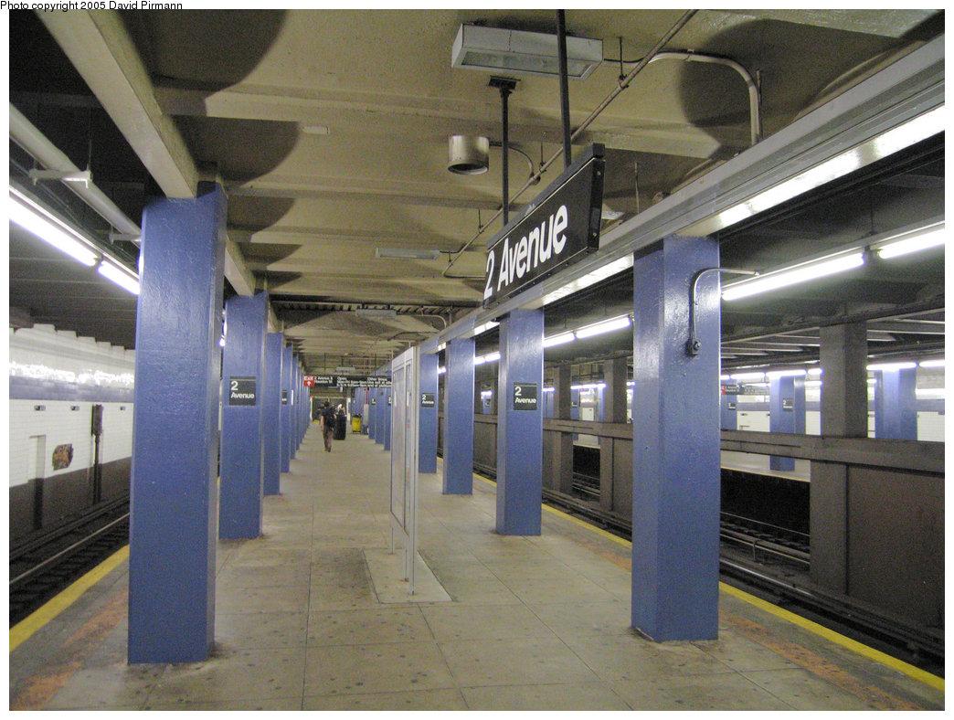 (243k, 1044x788)<br><b>Country:</b> United States<br><b>City:</b> New York<br><b>System:</b> New York City Transit<br><b>Line:</b> IND 6th Avenue Line<br><b>Location:</b> 2nd Avenue <br><b>Photo by:</b> David Pirmann<br><b>Date:</b> 6/30/2005<br><b>Notes:</b> View of southbound platform; low ceiling (provision for 2nd Avenue Subway?)<br><b>Viewed (this week/total):</b> 0 / 3166