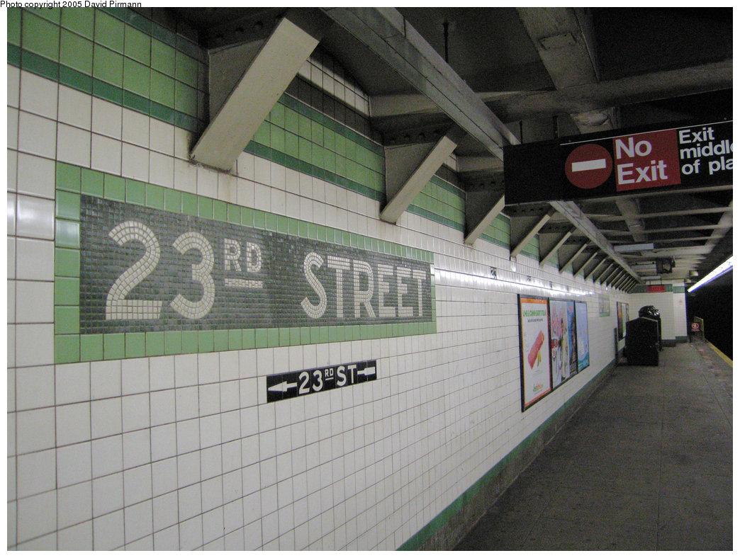 (227k, 1044x788)<br><b>Country:</b> United States<br><b>City:</b> New York<br><b>System:</b> New York City Transit<br><b>Line:</b> IND 6th Avenue Line<br><b>Location:</b> 23rd Street <br><b>Photo by:</b> David Pirmann<br><b>Date:</b> 6/30/2005<br><b>Notes:</b> Name mosaic<br><b>Viewed (this week/total):</b> 13 / 6912