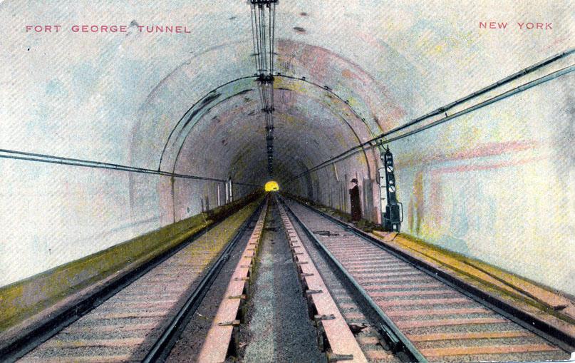 (171k, 807x509)<br><b>Country:</b> United States<br><b>City:</b> New York<br><b>System:</b> New York City Transit<br><b>Location:</b> Fort George Tunnel, Interborough Subway<br><b>Collection of:</b> Ed Levine<br><b>Date:</b> 1904<br><b>Notes:</b> Postcard view.<br><b>Viewed (this week/total):</b> 1 / 507