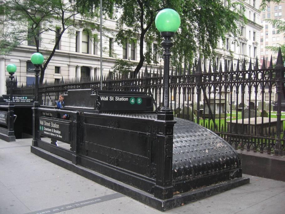 (132k, 909x682)<br><b>Country:</b> United States<br><b>City:</b> New York<br><b>System:</b> New York City Transit<br><b>Line:</b> IRT East Side Line<br><b>Location:</b> Wall Street <br><b>Photo by:</b> Robbie Rosenfeld<br><b>Date:</b> 7/6/2005<br><b>Notes:</b> Station entrance, head of Wall St at Broadway.<br><b>Viewed (this week/total):</b> 3 / 3849