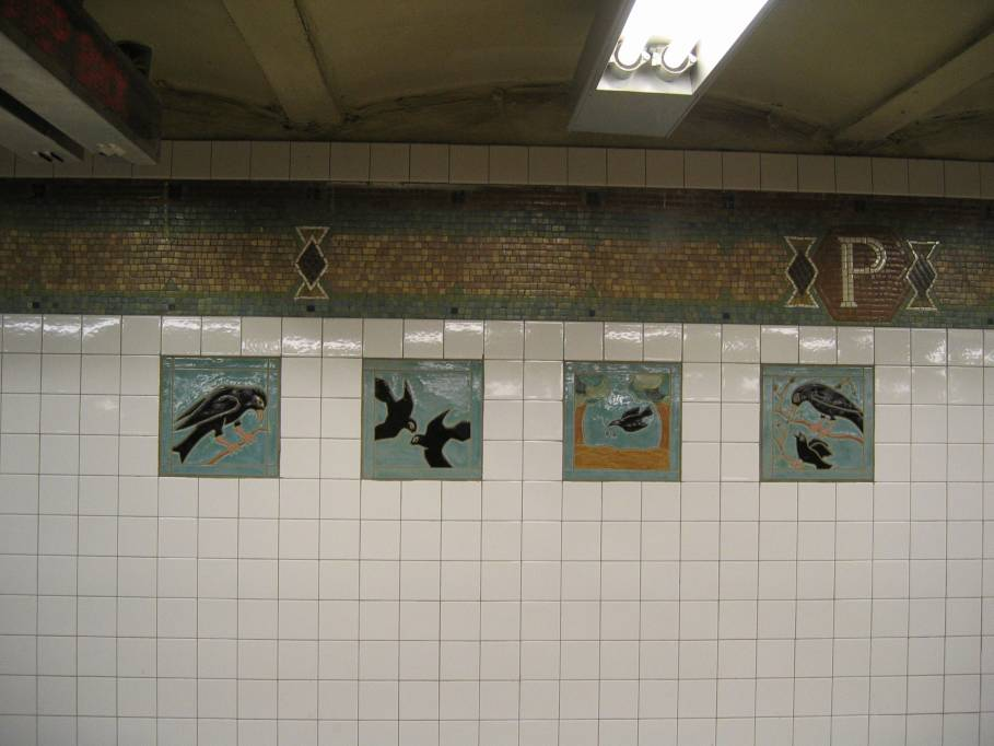 (60k, 909x682)<br><b>Country:</b> United States<br><b>City:</b> New York<br><b>System:</b> New York City Transit<br><b>Line:</b> IRT West Side Line<br><b>Location:</b> 34th Street/Penn Station <br><b>Photo by:</b> Robbie Rosenfeld<br><b>Date:</b> 3/30/2005<br><b>Artwork:</b> <i>A Bird's Life</i>, Elizabeth Grajales (1997).<br><b>Viewed (this week/total):</b> 1 / 3465