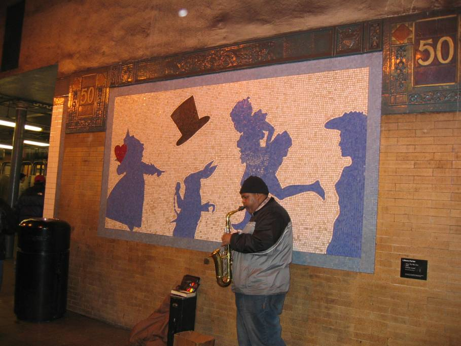(89k, 909x682)<br><b>Country:</b> United States<br><b>City:</b> New York<br><b>System:</b> New York City Transit<br><b>Line:</b> IRT West Side Line<br><b>Location:</b> 50th Street <br><b>Photo by:</b> Robbie Rosenfeld<br><b>Date:</b> 1/19/2005<br><b>Artwork:</b> <i>Alice: The Way Out</i>, Liliana Porter (1994).<br><b>Viewed (this week/total):</b> 7 / 5880