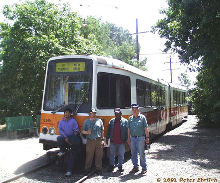 (202k, 720x601)<br><b>Country:</b> United States<br><b>City:</b> Rio Vista Junction, CA<br><b>System:</b> Western Railway Museum <br><b>Car:</b> MUNI Standard LRV (Boeing-Vertol, 1976-78) 1258 <br><b>Photo by:</b> Peter Ehrlich<br><b>Date:</b> 5/25/2002<br><b>Notes:</b> At Western Railway Museum, Rio Vista Junction, CA.  In May 2002, Boeing 1258 was sent to the Western Railway Museum to be preserved there.  It's the first day of operation there.  Four other Muni Boeings are preserved.<br><b>Viewed (this week/total):</b> 4 / 3414