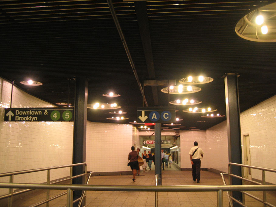 (131k, 909x682)<br><b>Country:</b> United States<br><b>City:</b> New York<br><b>System:</b> New York City Transit<br><b>Line:</b> IND 8th Avenue Line<br><b>Location:</b> Fulton Street (Broadway/Nassau) <br><b>Photo by:</b> Robbie Rosenfeld<br><b>Date:</b> 7/14/2005<br><b>Artwork:</b> <i>Astral Grating</i>, Nancy Holt (1987).<br><b>Viewed (this week/total):</b> 0 / 5518
