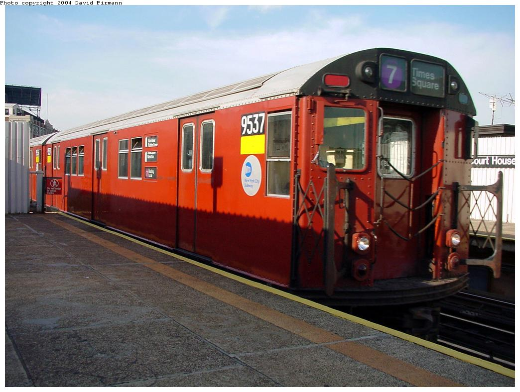 (126k, 1044x788)<br><b>Country:</b> United States<br><b>City:</b> New York<br><b>System:</b> New York City Transit<br><b>Line:</b> IRT Flushing Line<br><b>Location:</b> Court House Square/45th Road <br><b>Route:</b> 7<br><b>Car:</b> R-36 Main Line (St. Louis, 1964) 9537 <br><b>Photo by:</b> David Pirmann<br><b>Date:</b> 7/16/2001<br><b>Viewed (this week/total):</b> 3 / 3253