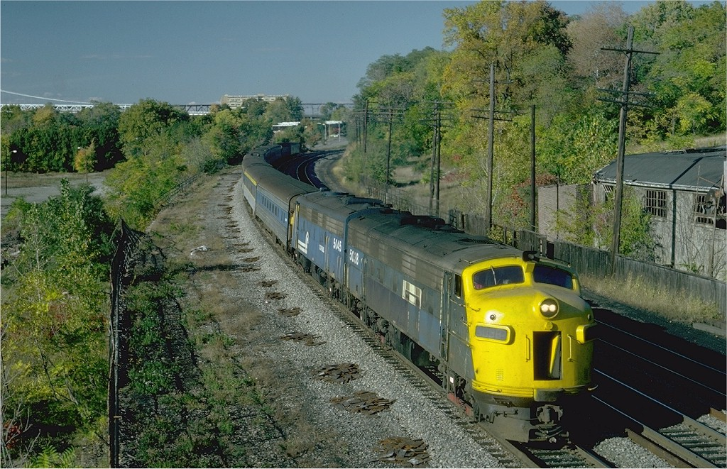 (280k, 1024x661)<br><b>Country:</b> United States<br><b>System:</b> Metro-North Railroad (or Amtrak or Predecessor RR)<br><b>Line:</b> Metro North-Hudson Line<br><b>Location:</b> Poughkeepsie <br><b>Car:</b> MNRR/NH FL9 5038 <br><b>Photo by:</b> Steve Zabel<br><b>Collection of:</b> Joe Testagrose<br><b>Date:</b> 10/10/1981<br><b>Viewed (this week/total):</b> 8 / 2589