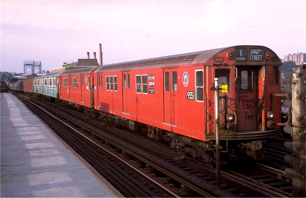 (177k, 1024x663)<br><b>Country:</b> United States<br><b>City:</b> New York<br><b>System:</b> New York City Transit<br><b>Line:</b> IRT West Side Line<br><b>Location:</b> 207th Street <br><b>Car:</b> R-36 Main Line (St. Louis, 1964) 9551 <br><b>Collection of:</b> Joe Testagrose<br><b>Date:</b> 7/12/1972<br><b>Viewed (this week/total):</b> 2 / 4998