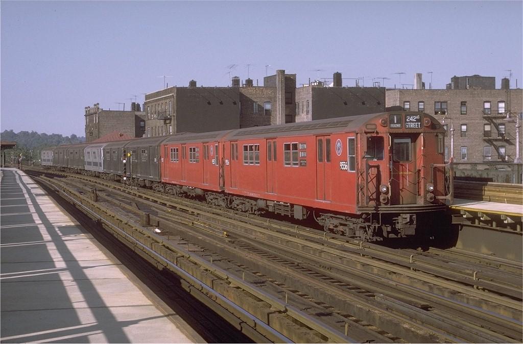 (190k, 1024x674)<br><b>Country:</b> United States<br><b>City:</b> New York<br><b>System:</b> New York City Transit<br><b>Line:</b> IRT West Side Line<br><b>Location:</b> 238th Street <br><b>Route:</b> 1<br><b>Car:</b> R-36 Main Line (St. Louis, 1964) 9556 <br><b>Photo by:</b> Doug Grotjahn<br><b>Collection of:</b> Joe Testagrose<br><b>Date:</b> 8/14/1971<br><b>Viewed (this week/total):</b> 1 / 4577