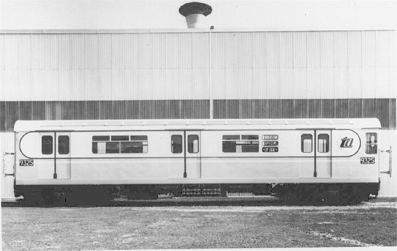 (55k, 777x492)<br><b>Country:</b> United States<br><b>City:</b> New York<br><b>System:</b> New York City Transit<br><b>Location:</b> St. Louis Car Co. Plant<br><b>Car:</b> R-33 World's Fair (St. Louis, 1963-64) 9325 <br><b>Collection of:</b> David Pirmann<br><b>Notes:</b> Full side view<br><b>Viewed (this week/total):</b> 2 / 2601