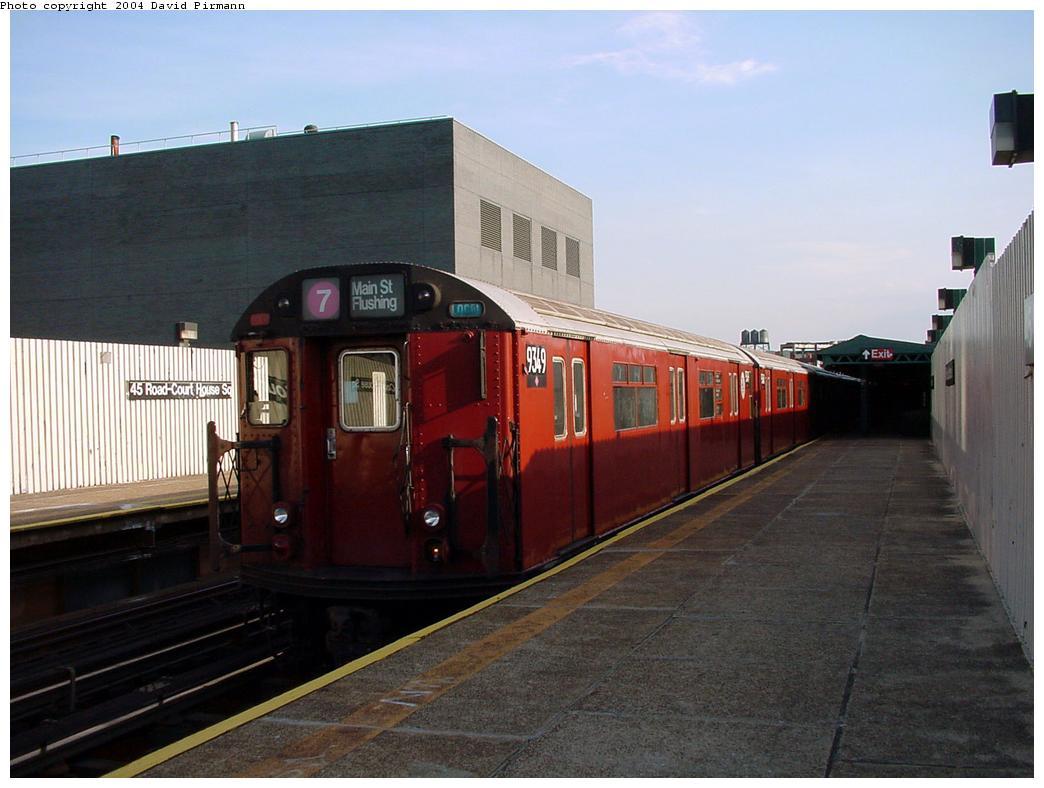 (104k, 1044x788)<br><b>Country:</b> United States<br><b>City:</b> New York<br><b>System:</b> New York City Transit<br><b>Line:</b> IRT Flushing Line<br><b>Location:</b> Court House Square/45th Road <br><b>Route:</b> 7<br><b>Car:</b> R-36 World's Fair (St. Louis, 1963-64) 9349 <br><b>Photo by:</b> David Pirmann<br><b>Date:</b> 7/16/2001<br><b>Viewed (this week/total):</b> 0 / 3493
