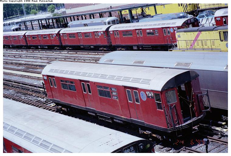 (103k, 760x514)<br><b>Country:</b> United States<br><b>City:</b> New York<br><b>System:</b> New York City Transit<br><b>Location:</b> Corona Yard<br><b>Car:</b> R-36 World's Fair (St. Louis, 1963-64) 9349 <br><b>Photo by:</b> Paul Polischuk<br><b>Date:</b> 6/25/1999<br><b>Viewed (this week/total):</b> 13 / 6809