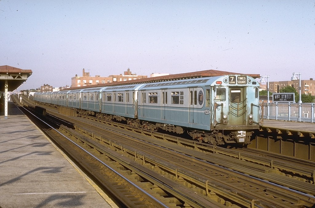 (240k, 1024x677)<br><b>Country:</b> United States<br><b>City:</b> New York<br><b>System:</b> New York City Transit<br><b>Line:</b> IRT Flushing Line<br><b>Location:</b> 69th Street/Fisk Avenue<br><b>Route:</b> 7<br><b>Car:</b> R-36 World's Fair (St. Louis, 1963-64) 9350 <br><b>Photo by:</b> Joe Testagrose<br><b>Date:</b> 5/24/1972<br><b>Viewed (this week/total):</b> 0 / 6163