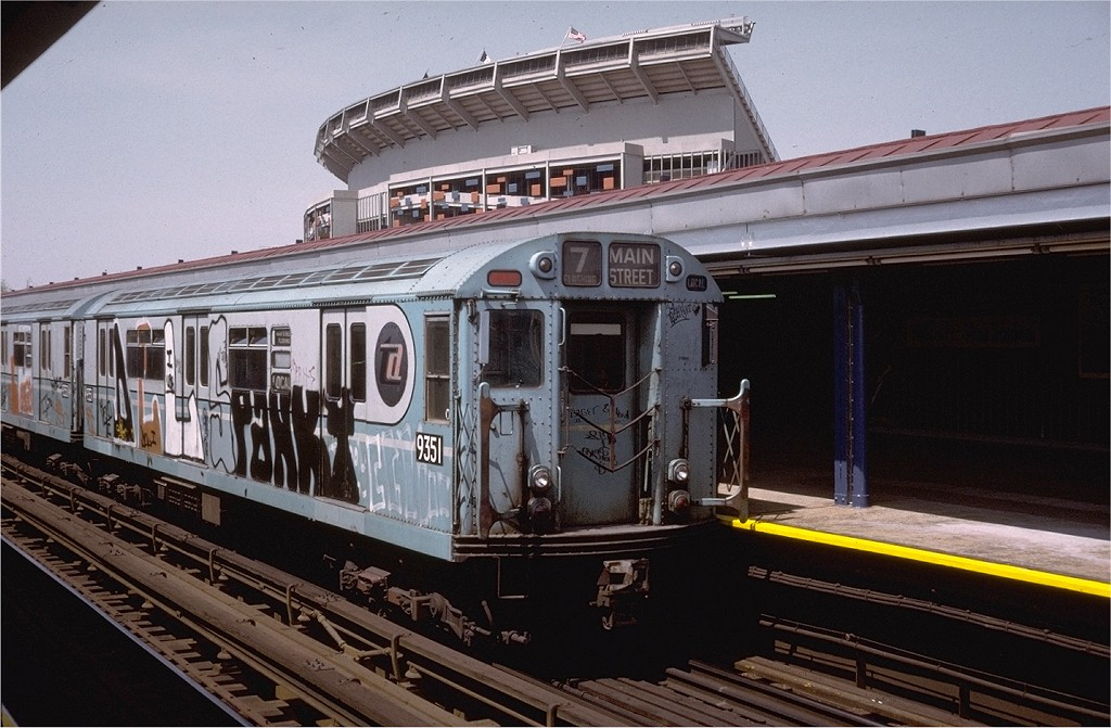 (197k, 1024x671)<br><b>Country:</b> United States<br><b>City:</b> New York<br><b>System:</b> New York City Transit<br><b>Line:</b> IRT Flushing Line<br><b>Location:</b> Willets Point/Mets (fmr. Shea Stadium) <br><b>Route:</b> 7<br><b>Car:</b> R-36 World's Fair (St. Louis, 1963-64) 9351 <br><b>Collection of:</b> Joe Testagrose<br><b>Date:</b> 4/28/1974<br><b>Viewed (this week/total):</b> 4 / 7434
