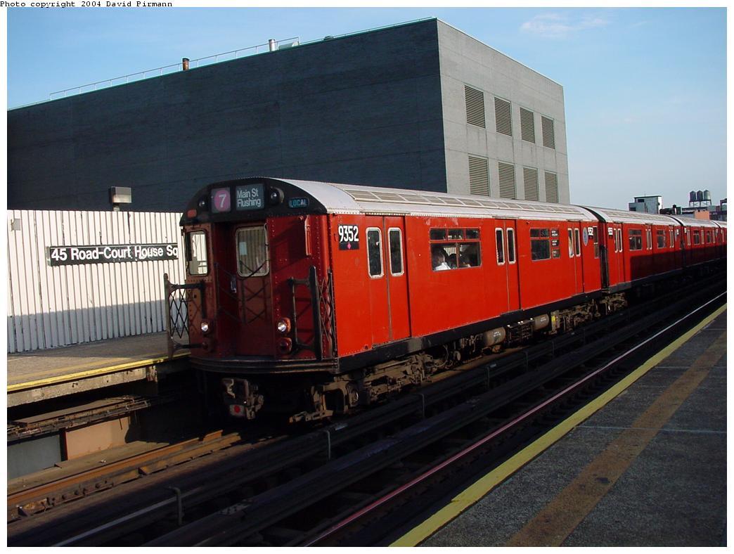 (114k, 1044x788)<br><b>Country:</b> United States<br><b>City:</b> New York<br><b>System:</b> New York City Transit<br><b>Line:</b> IRT Flushing Line<br><b>Location:</b> Court House Square/45th Road <br><b>Route:</b> 7<br><b>Car:</b> R-36 World's Fair (St. Louis, 1963-64) 9352 <br><b>Photo by:</b> David Pirmann<br><b>Date:</b> 7/16/2001<br><b>Viewed (this week/total):</b> 1 / 5975