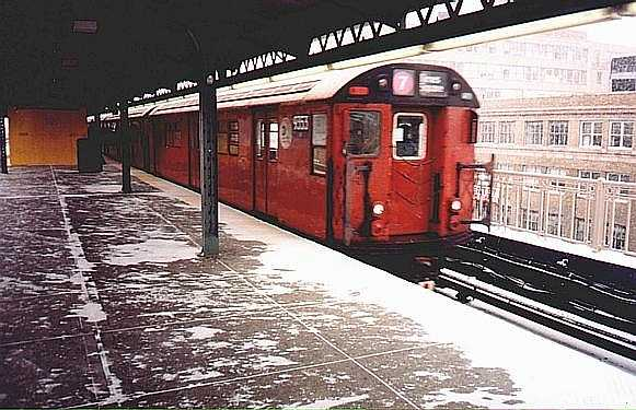 (47k, 581x375)<br><b>Country:</b> United States<br><b>City:</b> New York<br><b>System:</b> New York City Transit<br><b>Line:</b> IRT Flushing Line<br><b>Location:</b> Queensborough Plaza <br><b>Route:</b> 7<br><b>Car:</b> R-36 World's Fair (St. Louis, 1963-64) 9353 <br><b>Photo by:</b> Trevor Logan<br><b>Date:</b> 1999<br><b>Viewed (this week/total):</b> 2 / 3852