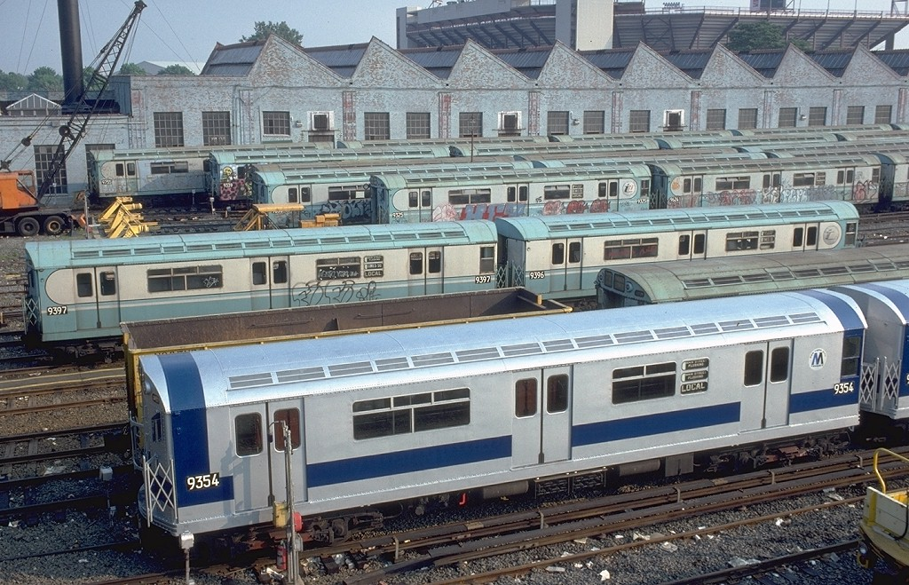 (263k, 1024x659)<br><b>Country:</b> United States<br><b>City:</b> New York<br><b>System:</b> New York City Transit<br><b>Location:</b> Corona Yard<br><b>Car:</b> R-36 World's Fair (St. Louis, 1963-64) 9354 <br><b>Photo by:</b> Doug Grotjahn<br><b>Collection of:</b> Joe Testagrose<br><b>Date:</b> 6/1/1979<br><b>Viewed (this week/total):</b> 1 / 6472