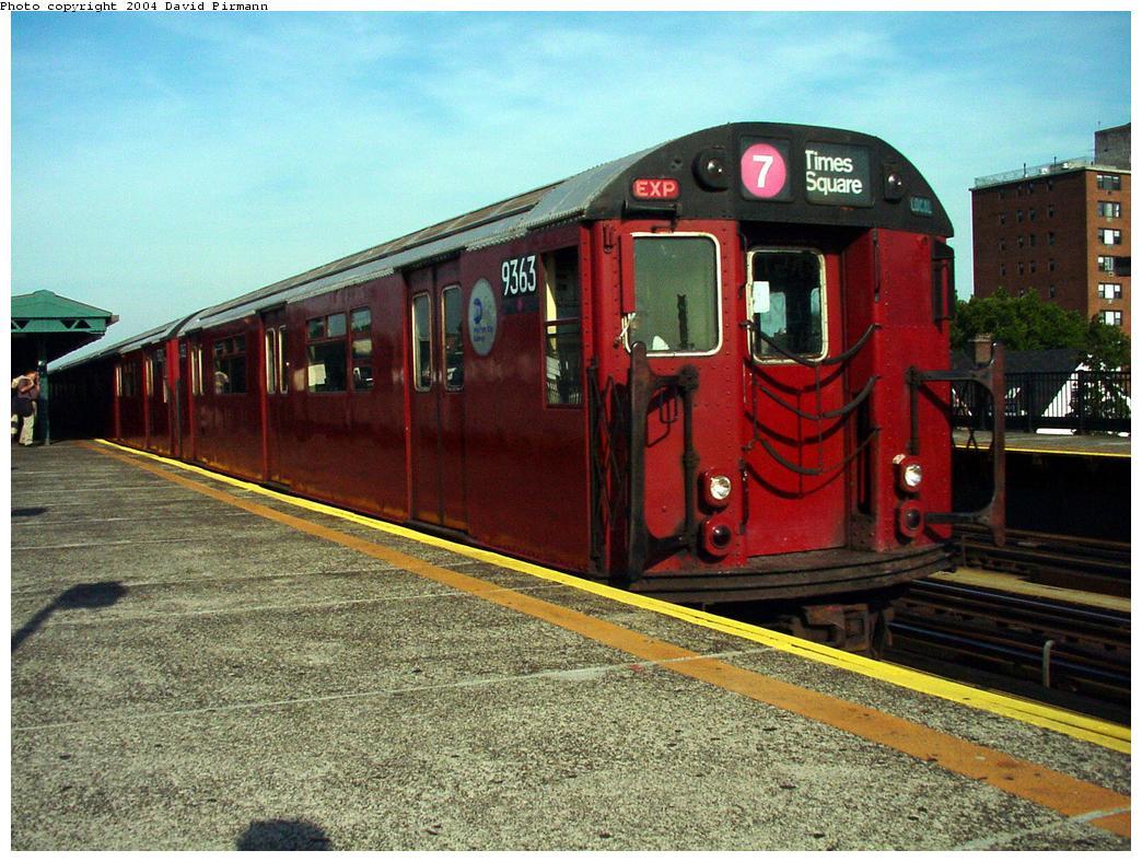 (163k, 1044x788)<br><b>Country:</b> United States<br><b>City:</b> New York<br><b>System:</b> New York City Transit<br><b>Line:</b> IRT Flushing Line<br><b>Location:</b> 69th Street/Fisk Avenue <br><b>Route:</b> 7<br><b>Car:</b> R-36 World's Fair (St. Louis, 1963-64) 9363 <br><b>Photo by:</b> David Pirmann<br><b>Date:</b> 7/16/2001<br><b>Viewed (this week/total):</b> 2 / 3480