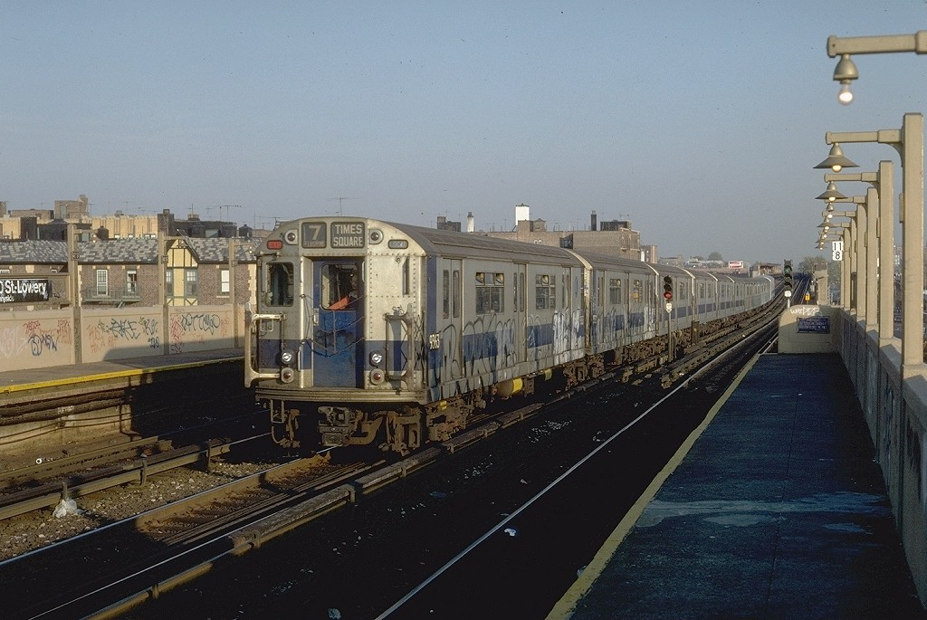 (191k, 1024x685)<br><b>Country:</b> United States<br><b>City:</b> New York<br><b>System:</b> New York City Transit<br><b>Line:</b> IRT Flushing Line<br><b>Location:</b> 40th Street/Lowery Street <br><b>Route:</b> 7<br><b>Car:</b> R-36 World's Fair (St. Louis, 1963-64) 9363 <br><b>Photo by:</b> Steve Zabel<br><b>Collection of:</b> Joe Testagrose<br><b>Date:</b> 11/2/1981<br><b>Viewed (this week/total):</b> 0 / 3977