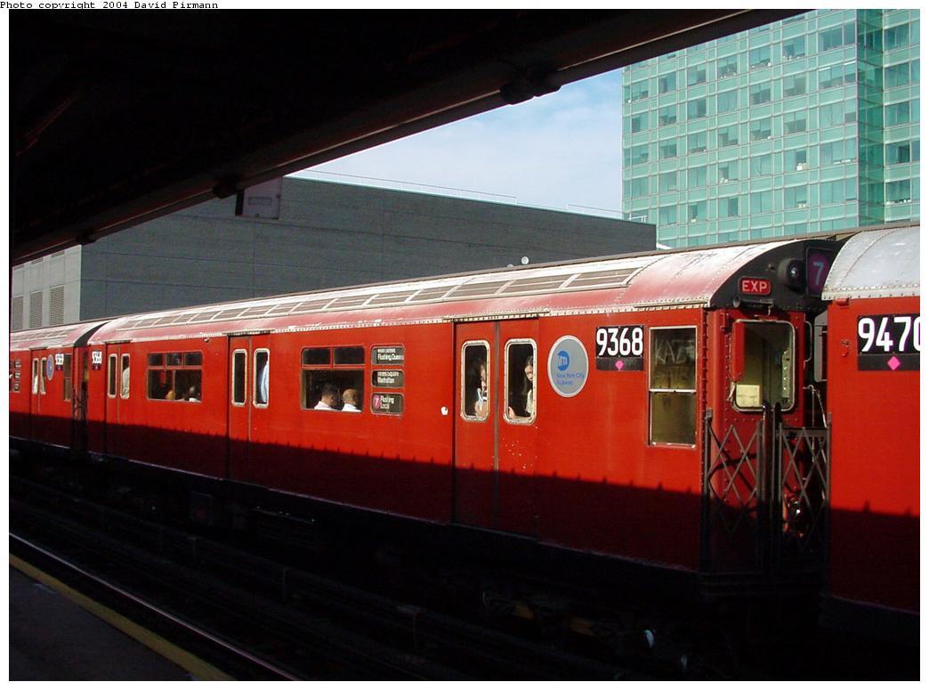 (104k, 1044x775)<br><b>Country:</b> United States<br><b>City:</b> New York<br><b>System:</b> New York City Transit<br><b>Line:</b> IRT Flushing Line<br><b>Location:</b> Court House Square/45th Road <br><b>Route:</b> 7<br><b>Car:</b> R-36 World's Fair (St. Louis, 1963-64) 9368 <br><b>Photo by:</b> David Pirmann<br><b>Date:</b> 7/16/2001<br><b>Viewed (this week/total):</b> 0 / 3885