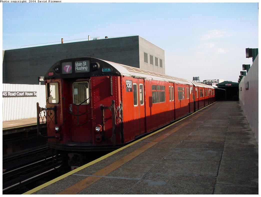 (110k, 1044x788)<br><b>Country:</b> United States<br><b>City:</b> New York<br><b>System:</b> New York City Transit<br><b>Line:</b> IRT Flushing Line<br><b>Location:</b> Court House Square/45th Road <br><b>Route:</b> 7<br><b>Car:</b> R-36 World's Fair (St. Louis, 1963-64) 9381 <br><b>Photo by:</b> David Pirmann<br><b>Date:</b> 7/16/2001<br><b>Viewed (this week/total):</b> 4 / 3922
