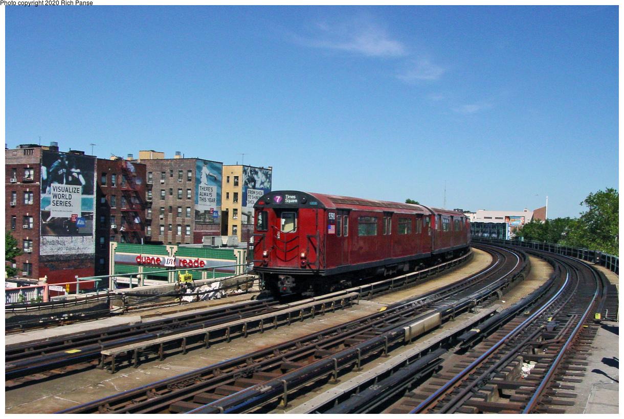(74k, 820x620)<br><b>Country:</b> United States<br><b>City:</b> New York<br><b>System:</b> New York City Transit<br><b>Line:</b> IRT Flushing Line<br><b>Location:</b> 46th Street/Bliss Street <br><b>Route:</b> 7<br><b>Car:</b> R-36 World's Fair (St. Louis, 1963-64) 9390 <br><b>Photo by:</b> Richard Panse<br><b>Date:</b> 7/11/2002<br><b>Viewed (this week/total):</b> 1 / 4343