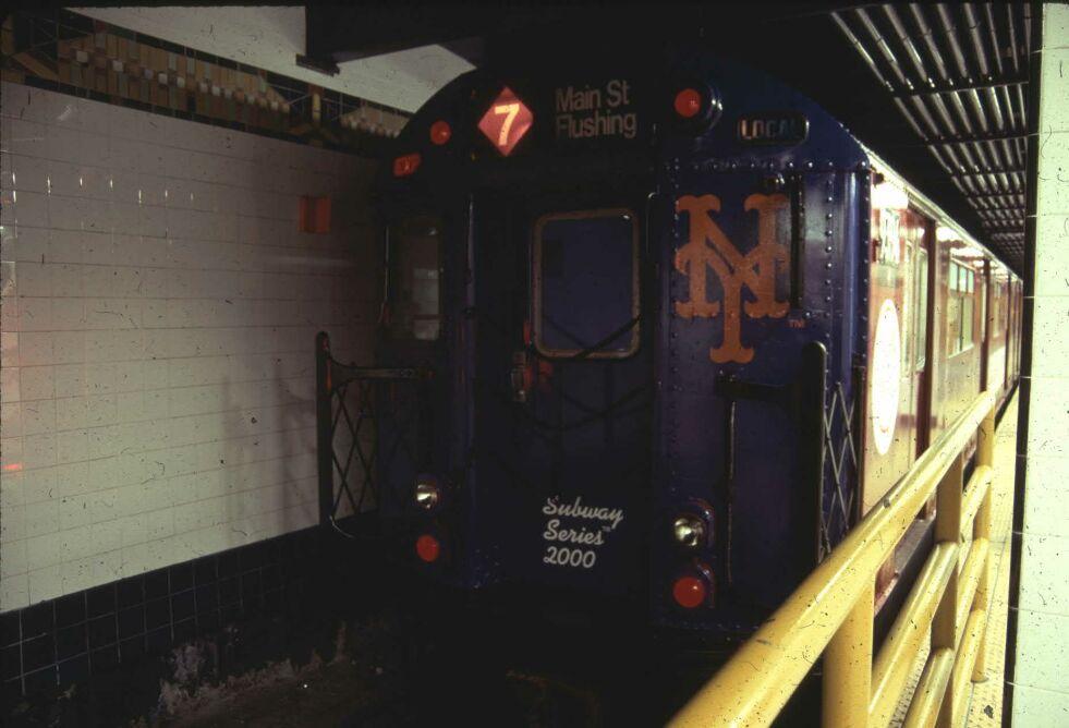 (75k, 981x668)<br><b>Country:</b> United States<br><b>City:</b> New York<br><b>System:</b> New York City Transit<br><b>Line:</b> IRT Flushing Line<br><b>Location:</b> Main Street/Flushing <br><b>Route:</b> 7<br><b>Car:</b> R-36 World's Fair (St. Louis, 1963-64) 9394 <br><b>Photo by:</b> Glenn L. Rowe<br><b>Date:</b> 10/24/2000<br><b>Viewed (this week/total):</b> 1 / 6485