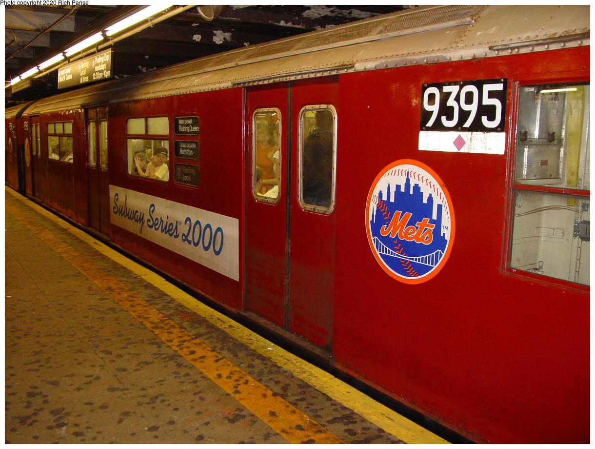 (80k, 820x620)<br><b>Country:</b> United States<br><b>City:</b> New York<br><b>System:</b> New York City Transit<br><b>Line:</b> IRT Flushing Line<br><b>Location:</b> Times Square <br><b>Car:</b> R-36 World's Fair (St. Louis, 1963-64) 9395 <br><b>Photo by:</b> Richard Panse<br><b>Date:</b> 7/27/2002<br><b>Viewed (this week/total):</b> 0 / 5011