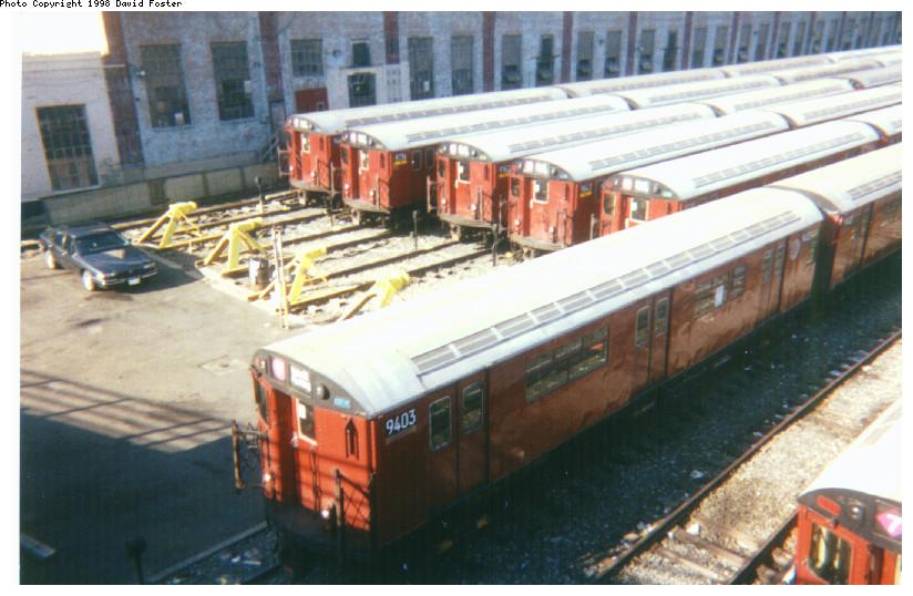 (160k, 824x538)<br><b>Country:</b> United States<br><b>City:</b> New York<br><b>System:</b> New York City Transit<br><b>Location:</b> Corona Yard<br><b>Car:</b> R-36 World's Fair (St. Louis, 1963-64) 9403 <br><b>Photo by:</b> David Foster<br><b>Date:</b> 1998<br><b>Viewed (this week/total):</b> 0 / 3061