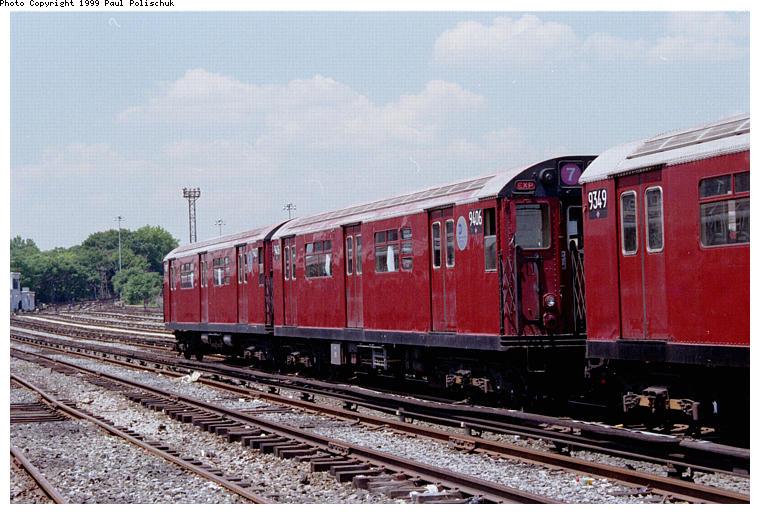 (90k, 760x514)<br><b>Country:</b> United States<br><b>City:</b> New York<br><b>System:</b> New York City Transit<br><b>Location:</b> Corona Yard<br><b>Car:</b> R-36 World's Fair (St. Louis, 1963-64) 9406 <br><b>Photo by:</b> Paul Polischuk<br><b>Date:</b> 6/25/1999<br><b>Viewed (this week/total):</b> 0 / 3994
