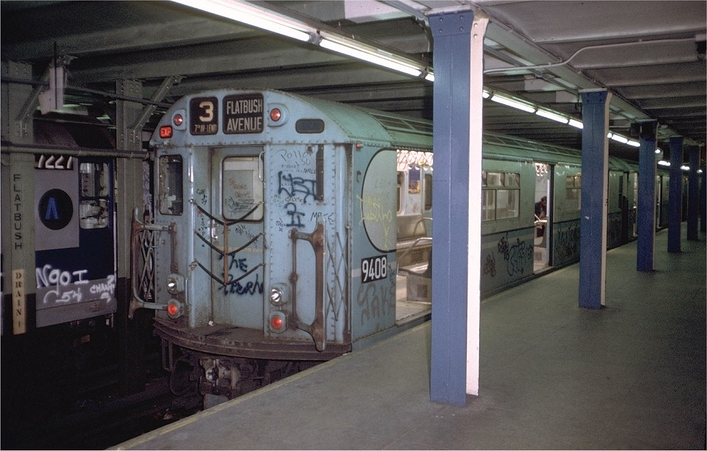 (191k, 1024x654)<br><b>Country:</b> United States<br><b>City:</b> New York<br><b>System:</b> New York City Transit<br><b>Line:</b> IRT Brooklyn Line<br><b>Location:</b> Flatbush Avenue <br><b>Route:</b> 3<br><b>Car:</b> R-36 World's Fair (St. Louis, 1963-64) 9408 <br><b>Photo by:</b> Doug Grotjahn<br><b>Collection of:</b> Joe Testagrose<br><b>Date:</b> 11/25/1972<br><b>Viewed (this week/total):</b> 0 / 6916
