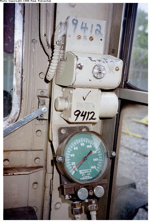 (82k, 514x760)<br><b>Country:</b> United States<br><b>City:</b> New York<br><b>System:</b> New York City Transit<br><b>Location:</b> Corona Yard<br><b>Car:</b> R-36 World's Fair (St. Louis, 1963-64) 9412 <br><b>Photo by:</b> Paul Polischuk<br><b>Date:</b> 6/25/1999<br><b>Notes:</b> Pressure Gauge<br><b>Viewed (this week/total):</b> 0 / 4358