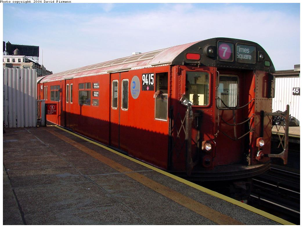 (121k, 1044x788)<br><b>Country:</b> United States<br><b>City:</b> New York<br><b>System:</b> New York City Transit<br><b>Line:</b> IRT Flushing Line<br><b>Location:</b> Court House Square/45th Road <br><b>Route:</b> 7<br><b>Car:</b> R-36 World's Fair (St. Louis, 1963-64) 9415 <br><b>Photo by:</b> David Pirmann<br><b>Date:</b> 7/16/2001<br><b>Viewed (this week/total):</b> 0 / 3337