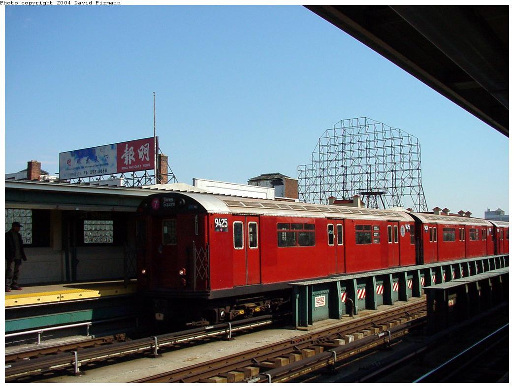 (121k, 1044x788)<br><b>Country:</b> United States<br><b>City:</b> New York<br><b>System:</b> New York City Transit<br><b>Line:</b> IRT Flushing Line<br><b>Location:</b> 33rd Street/Rawson Street <br><b>Route:</b> 7<br><b>Car:</b> R-36 World's Fair (St. Louis, 1963-64) 9425 <br><b>Photo by:</b> David Pirmann<br><b>Date:</b> 3/10/2001<br><b>Viewed (this week/total):</b> 0 / 3983