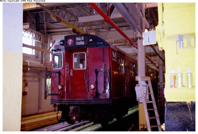 (80k, 760x514)<br><b>Country:</b> United States<br><b>City:</b> New York<br><b>System:</b> New York City Transit<br><b>Location:</b> Corona Shops<br><b>Car:</b> R-36 World's Fair (St. Louis, 1963-64) 9445 <br><b>Photo by:</b> Paul Polischuk<br><b>Date:</b> 6/25/1999<br><b>Viewed (this week/total):</b> 0 / 3949