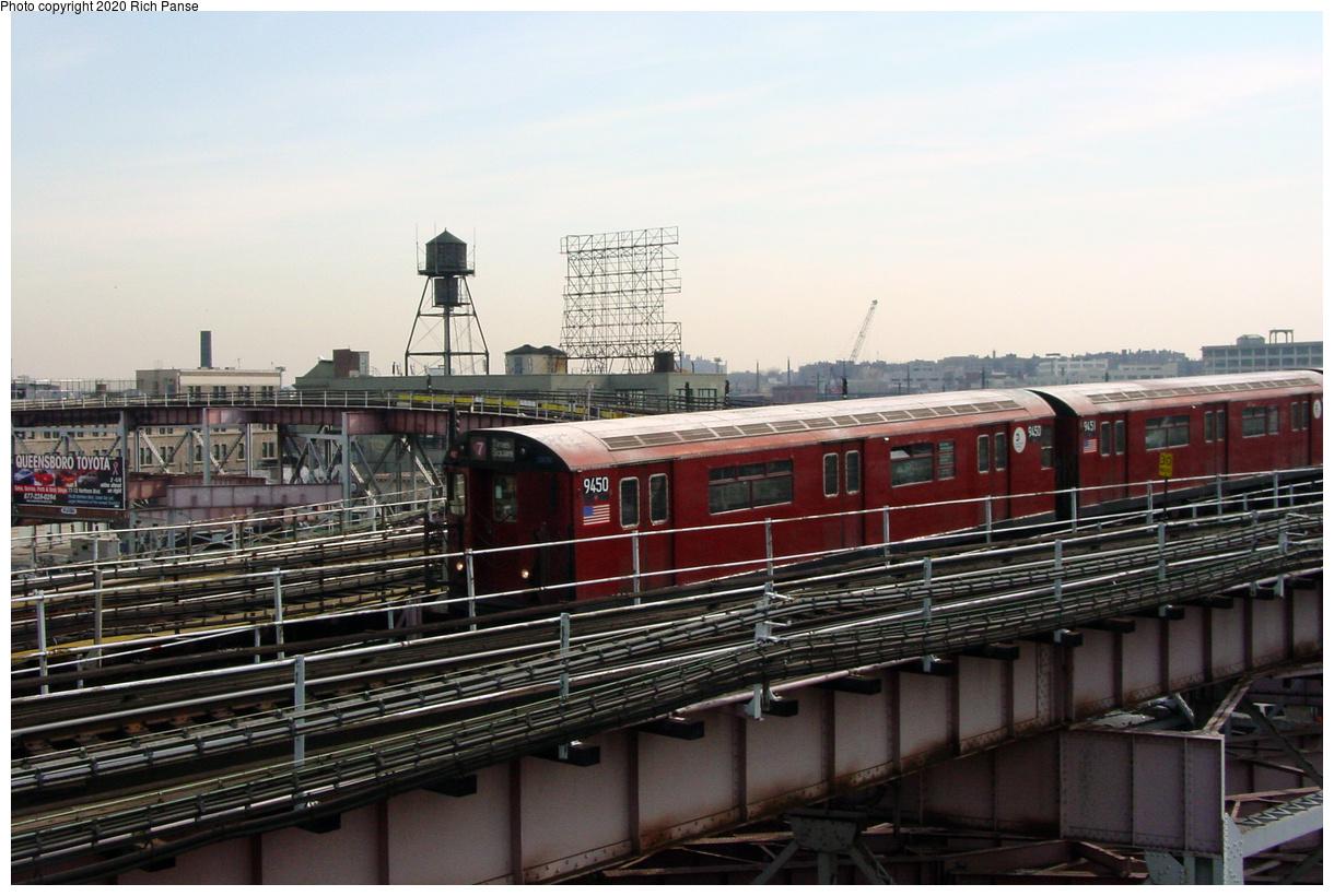 (67k, 820x620)<br><b>Country:</b> United States<br><b>City:</b> New York<br><b>System:</b> New York City Transit<br><b>Line:</b> IRT Flushing Line<br><b>Location:</b> Queensborough Plaza <br><b>Route:</b> 7<br><b>Car:</b> R-36 World's Fair (St. Louis, 1963-64) 9450 <br><b>Photo by:</b> Richard Panse<br><b>Date:</b> 3/7/2002<br><b>Viewed (this week/total):</b> 0 / 4000