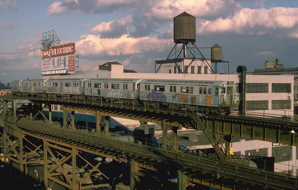 (211k, 1024x655)<br><b>Country:</b> United States<br><b>City:</b> New York<br><b>System:</b> New York City Transit<br><b>Line:</b> IRT Flushing Line<br><b>Location:</b> Queensborough Plaza <br><b>Route:</b> 7<br><b>Car:</b> R-36 World's Fair (St. Louis, 1963-64) 9456 <br><b>Photo by:</b> Steve Zabel<br><b>Collection of:</b> Joe Testagrose<br><b>Date:</b> 11/11/1977<br><b>Viewed (this week/total):</b> 3 / 6477