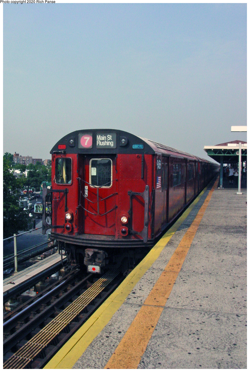 (54k, 620x820)<br><b>Country:</b> United States<br><b>City:</b> New York<br><b>System:</b> New York City Transit<br><b>Line:</b> IRT Flushing Line<br><b>Location:</b> Junction Boulevard <br><b>Route:</b> 7<br><b>Car:</b> R-36 World's Fair (St. Louis, 1963-64) 9458 <br><b>Photo by:</b> Richard Panse<br><b>Date:</b> 2002<br><b>Viewed (this week/total):</b> 1 / 2901