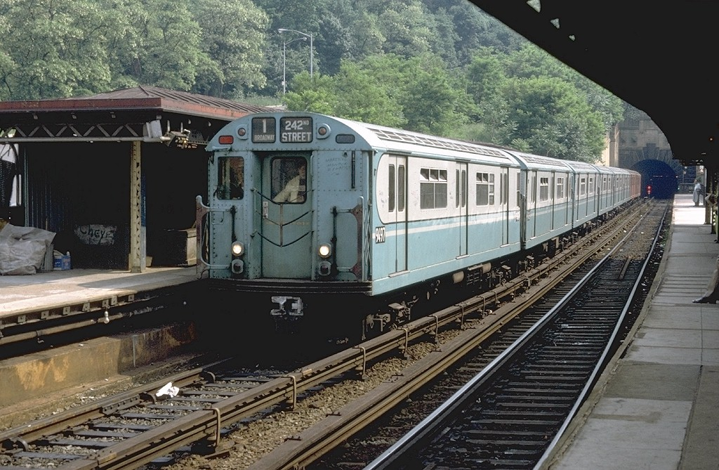 (244k, 1024x669)<br><b>Country:</b> United States<br><b>City:</b> New York<br><b>System:</b> New York City Transit<br><b>Line:</b> IRT West Side Line<br><b>Location:</b> Dyckman Street <br><b>Route:</b> 1<br><b>Car:</b> R-36 World's Fair (St. Louis, 1963-64) 9497 <br><b>Photo by:</b> Doug Grotjahn<br><b>Collection of:</b> Joe Testagrose<br><b>Date:</b> 6/3/1972<br><b>Viewed (this week/total):</b> 1 / 4940