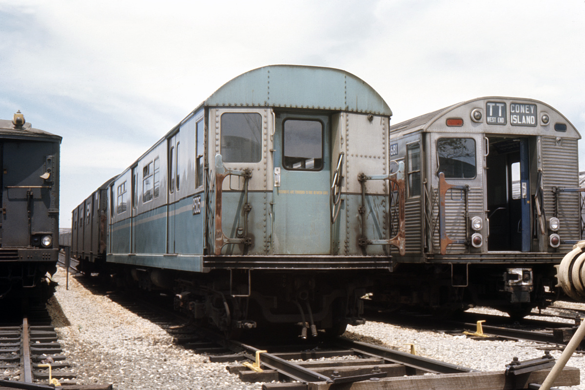 (305k, 1024x683)<br><b>Country:</b> United States<br><b>City:</b> New York<br><b>System:</b> New York City Transit<br><b>Location:</b> Coney Island Yard<br><b>Car:</b> R-36 World's Fair (St. Louis, 1963-64) 9505 <br><b>Collection of:</b> David Pirmann<br><b>Date:</b> 6/25/1966<br><b>Viewed (this week/total):</b> 0 / 3798