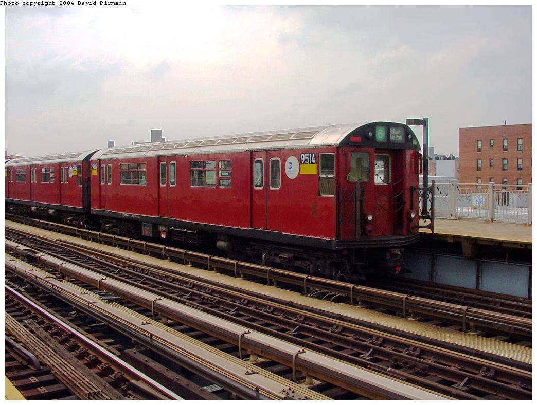 (132k, 1044x788)<br><b>Country:</b> United States<br><b>City:</b> New York<br><b>System:</b> New York City Transit<br><b>Line:</b> IRT Pelham Line<br><b>Location:</b> Castle Hill Avenue <br><b>Route:</b> 6<br><b>Car:</b> R-36 World's Fair (St. Louis, 1963-64) 9514 <br><b>Photo by:</b> David Pirmann<br><b>Date:</b> 7/4/2001<br><b>Viewed (this week/total):</b> 0 / 4612