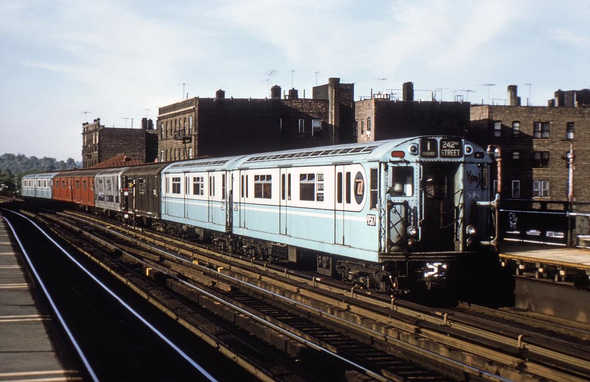 (372k, 1024x675)<br><b>Country:</b> United States<br><b>City:</b> New York<br><b>System:</b> New York City Transit<br><b>Line:</b> IRT West Side Line<br><b>Location:</b> 238th Street <br><b>Route:</b> 1<br><b>Car:</b> R-36 World's Fair (St. Louis, 1963-64) 9517 <br><b>Photo by:</b> Joe Testagrose<br><b>Date:</b> 5/21/1972<br><b>Viewed (this week/total):</b> 2 / 4056