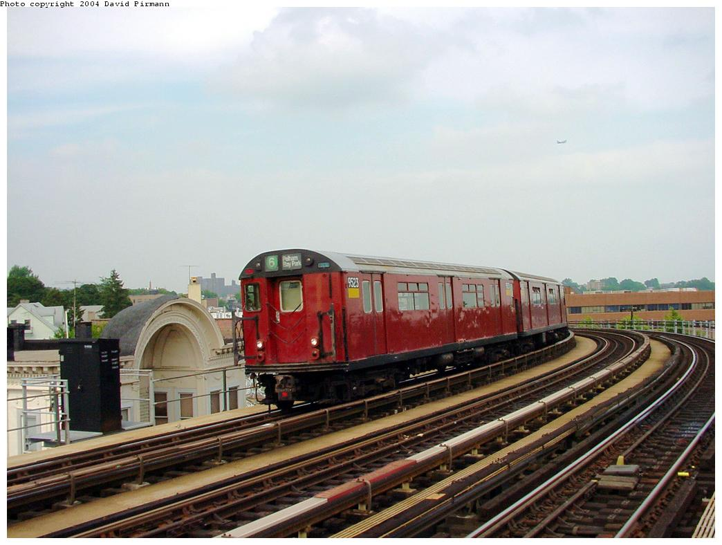 (112k, 1044x788)<br><b>Country:</b> United States<br><b>City:</b> New York<br><b>System:</b> New York City Transit<br><b>Line:</b> IRT Pelham Line<br><b>Location:</b> Castle Hill Avenue <br><b>Route:</b> 6<br><b>Car:</b> R-36 World's Fair (St. Louis, 1963-64) 9523 <br><b>Photo by:</b> David Pirmann<br><b>Date:</b> 7/4/2001<br><b>Viewed (this week/total):</b> 2 / 5917