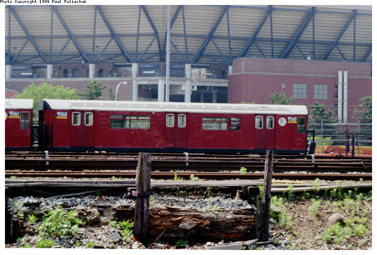 (104k, 760x514)<br><b>Country:</b> United States<br><b>City:</b> New York<br><b>System:</b> New York City Transit<br><b>Location:</b> Corona Yard<br><b>Car:</b> R-36 World's Fair (St. Louis, 1963-64) 9560 <br><b>Photo by:</b> Paul Polischuk<br><b>Date:</b> 6/25/1999<br><b>Viewed (this week/total):</b> 3 / 3993