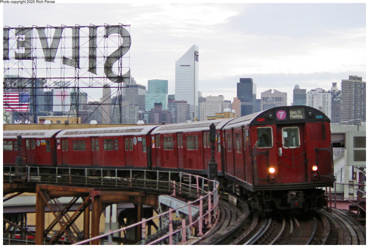(73k, 820x620)<br><b>Country:</b> United States<br><b>City:</b> New York<br><b>System:</b> New York City Transit<br><b>Line:</b> IRT Flushing Line<br><b>Location:</b> Queensborough Plaza <br><b>Route:</b> 7<br><b>Car:</b> R-36 World's Fair (St. Louis, 1963-64) 9566 <br><b>Photo by:</b> Richard Panse<br><b>Date:</b> 1/23/2002<br><b>Viewed (this week/total):</b> 1 / 4499