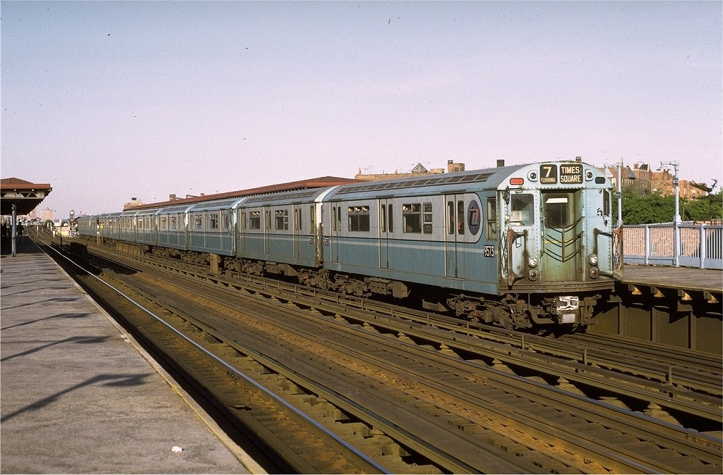 (230k, 1024x674)<br><b>Country:</b> United States<br><b>City:</b> New York<br><b>System:</b> New York City Transit<br><b>Line:</b> IRT Flushing Line<br><b>Location:</b> 90th Street/Elmhurst Avenue <br><b>Route:</b> 7<br><b>Car:</b> R-36 World's Fair (St. Louis, 1963-64) 9573 <br><b>Photo by:</b> Joe Testagrose<br><b>Date:</b> 5/26/1972<br><b>Viewed (this week/total):</b> 0 / 3917