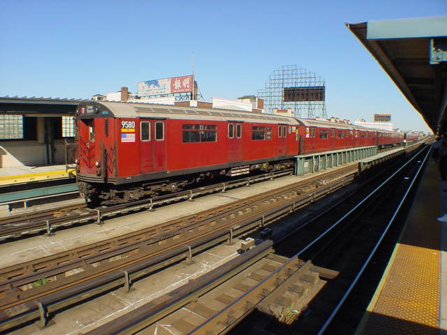 (60k, 640x480)<br><b>Country:</b> United States<br><b>City:</b> New York<br><b>System:</b> New York City Transit<br><b>Line:</b> IRT Flushing Line<br><b>Location:</b> 33rd Street/Rawson Street <br><b>Route:</b> 7<br><b>Car:</b> R-36 World's Fair (St. Louis, 1963-64) 9580 <br><b>Photo by:</b> Salaam Allah<br><b>Date:</b> 9/17/2002<br><b>Viewed (this week/total):</b> 3 / 2574