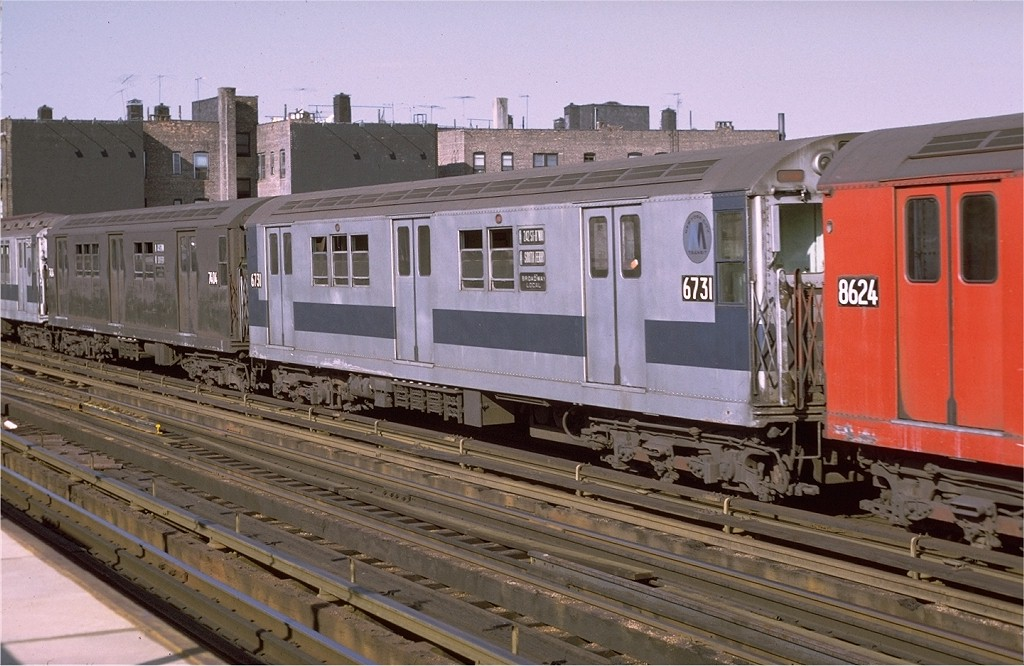 (194k, 1024x666)<br><b>Country:</b> United States<br><b>City:</b> New York<br><b>System:</b> New York City Transit<br><b>Line:</b> IRT West Side Line<br><b>Location:</b> 238th Street <br><b>Route:</b> 1<br><b>Car:</b> R-17 (St. Louis, 1955-56) 6731 <br><b>Photo by:</b> Joe Testagrose<br><b>Date:</b> 8/14/1971<br><b>Viewed (this week/total):</b> 1 / 2359