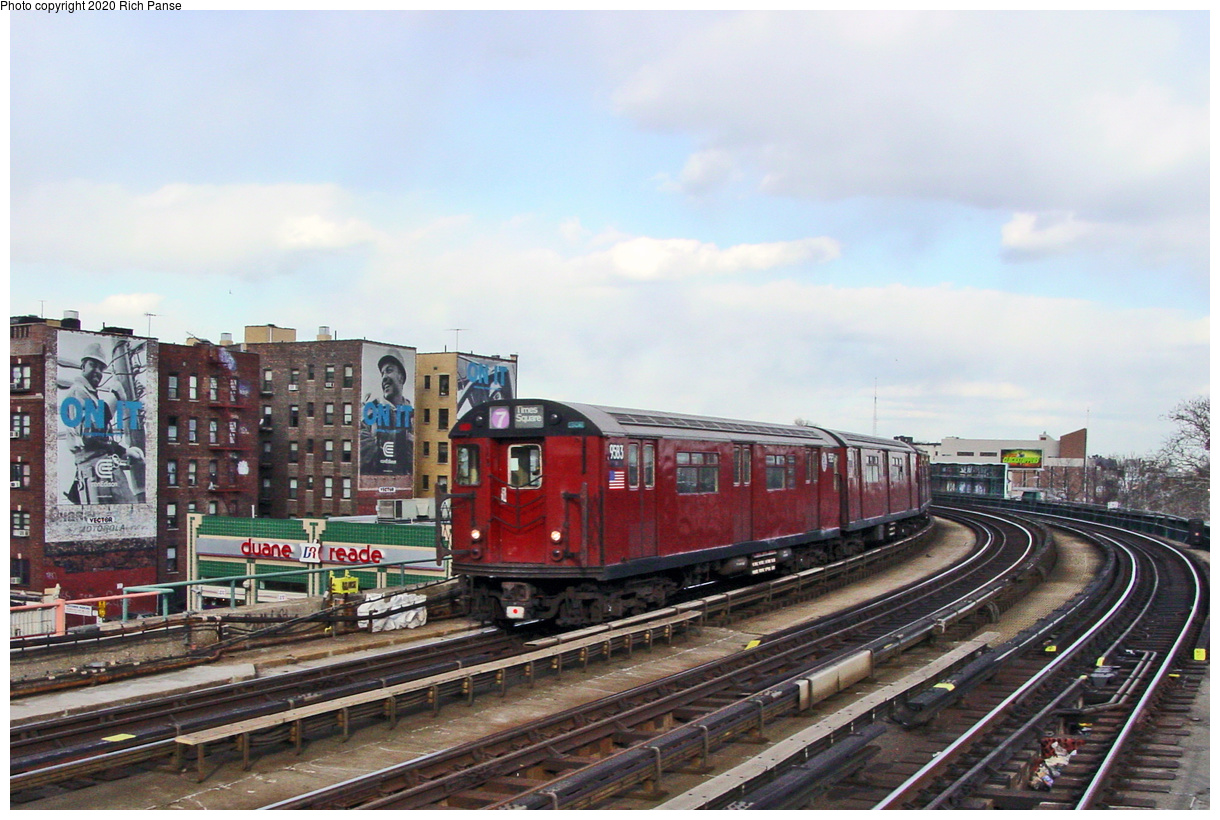 (69k, 820x620)<br><b>Country:</b> United States<br><b>City:</b> New York<br><b>System:</b> New York City Transit<br><b>Line:</b> IRT Flushing Line<br><b>Location:</b> 46th Street/Bliss Street <br><b>Route:</b> 7<br><b>Car:</b> R-36 World's Fair (St. Louis, 1963-64) 9583 <br><b>Photo by:</b> Richard Panse<br><b>Date:</b> 3/22/2002<br><b>Viewed (this week/total):</b> 13 / 4264